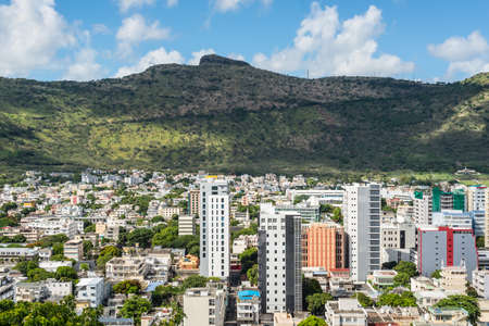 Port Louis, Mauritius - December 25, 2015: Port Louis Cityscape - viewed from the fort Adelaide in Mauritius capital city.  The city is the countrys economic, cultural, political centre and most populous city. Editorial