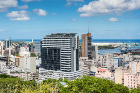 adelaide: Port Louis, Mauritius - December 25, 2015: Port Louis Skyline - viewed from the fort Adelaide along the Indian Ocean in Mauritius capital city.