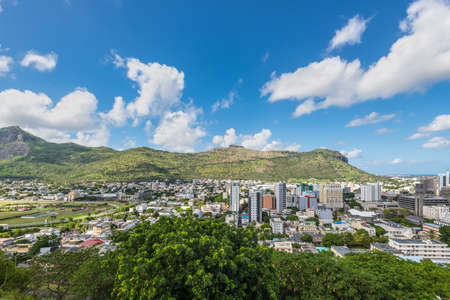 adelaide: Port Louis Skyline - viewed from the fort Adelaide along the Indian Ocean in Mauritius capital city