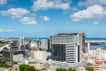 december 25: Port Louis, Mauritius - December 25, 2015: Port Louis Skyline - viewed from the fort Adelaide along the Indian Ocean in Mauritius capital city.
