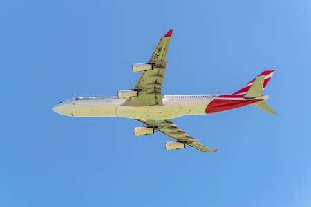 Plaisance, Mauritius - December 28, 2015: The aircraft Air Mauritius Airbus A340-300 taking off from the Sir Seewoosagur Ramgoolam International Airport (MRU). Editorial