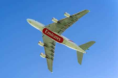 Plaisance, Mauritius - December 27, 2015: The Airbus A380-841 aircraft of Emirates Airlines takeoff from the Sir Seewoosagur Ramgoolam International Airport (MRU), Plaisance, Mauritius. Editorial