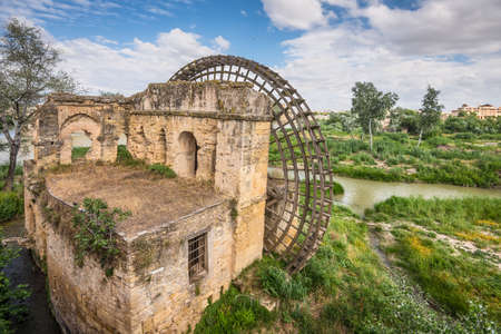 Ruins of ancient watermill in Cordoba, Andalusia province, Spain 免版税图像