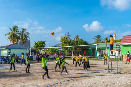 Huraa Island, Maldives - November 20, 2017: Girls are playing volleyball for the championship of the Huraa Island, Maldives.
