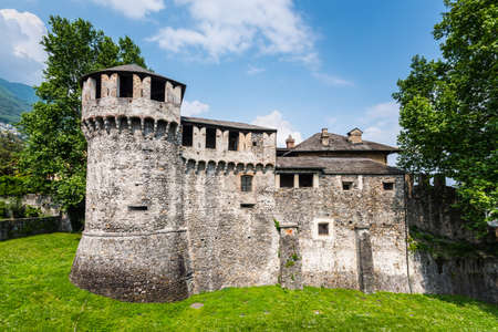 Locarno, Switzerland - May 28, 2016: Ruins of Visconteo castle, which was built in 1513, Locarno, Switzerland.
