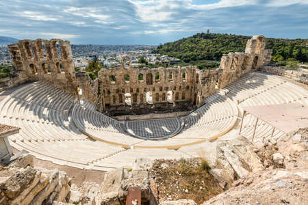 Athens, Greece - November 1, 2017: The Odeon of Herodes Atticus is a stone theatre structure located on the southwest slope of the Acropolis of Athens, Greece. Imagens