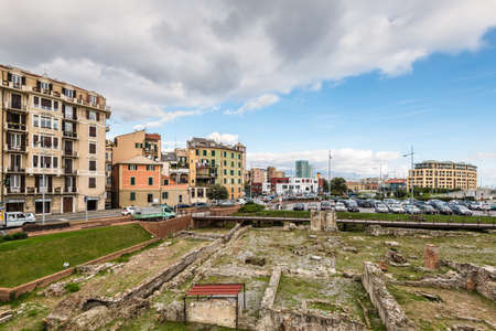 Savona, Italy - December 2, 2016: Ruins on the foreground near bridge to the Priamar Fortress in Savona, Liguria, Italy. Priamar fortress built between 1542 and 1544 by the Genoese citizens. Editorial
