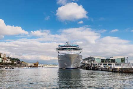 Savona, Italy - December 2, 2016: The Costa Deliziosa cruise ship in the Ligurian sea port at the cruises terminal in Savona, Italy.
