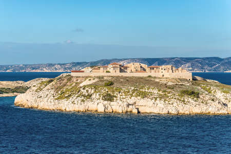 View of the Hospital Caroline on Ratonneau island from Chateau d'If in Marseille, Provence, France.