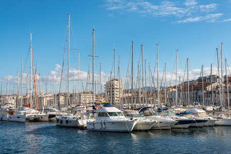 Marseille, France - December 4, 2016: Picturesque colorful yacht Old Vieux Port in center of Marseilles, France.