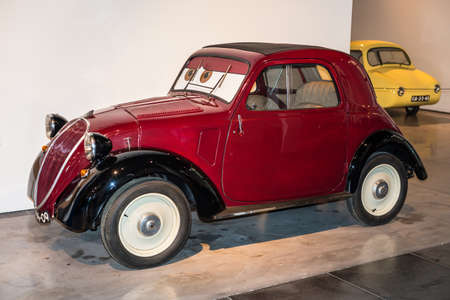 Malaga, Spain - December 7, 2016: Vintage Fiat 500 Topolino (model 1936) Italy car displayed at Malaga Automobile and Fashion Museum in Spain. Redakční