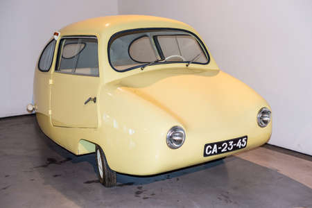 Malaga, Spain - December 7, 2016: The egg Fuldamobil car (model 1955) Germany displayed at Malaga Automobile and Fashion Museum in Spain. Фото со стока - 107121288