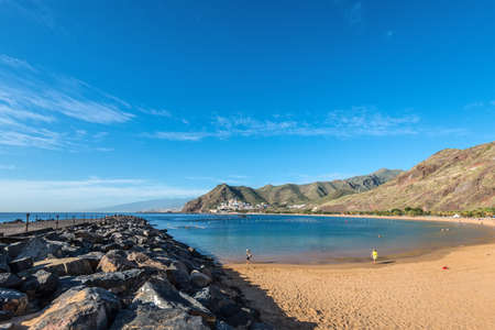 Santa Cruz de Tenerife, Canary Islands, Spain - Desember 11, 2016: The dam which protects the famous Las Teresitas beach near Santa Cruz de Tenerife in the north of Tenerife, Canary Islands, Spain.