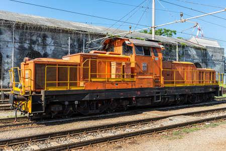 Genoa, Italy - May 15, 2017: The Diesel locomotive FS class D.445 at the Genova Brignole railway station in Genoa, Liguria, Italy.