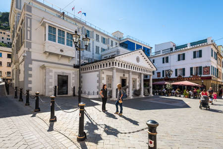 Gibraltar, UK - May 18, 2017: Convent Guard House, building of H.M. Government of Gibraltar and Supreme Court of Gibraltar. Editorial