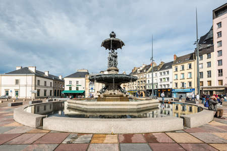 Cherbourg-Octeville, France - May 22, 2017: Fountain Mouchel in the square in the city of Cherbourg-Octeville, Normandy, France.