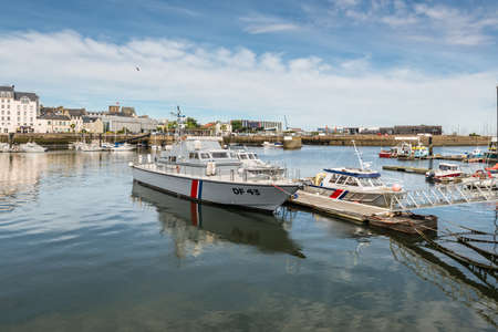 Cherbourg-Octeville, France - May 22, 2017: Patrol boat Haize Hegoa DF43 in the port of Cherbourg-Octeville, on the north of the Cotentin peninsula, France.
