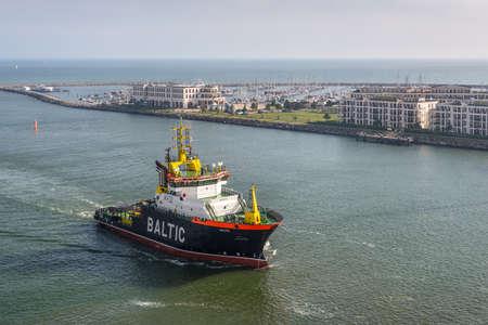 Rostock, Germany - May 26, 2017: Emergency towing vessel Baltic sailing into the port of Warnemunde-Rostock, Mecklenburg-Western Pomerania, Germany. Redakční