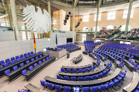 Berlin, Germany - May 27, 2017: Interior of Plenary Hall (meeting room) of German Parliament (Deutscher Bundestag). Building and Meeting room available for public between plenary sessions.