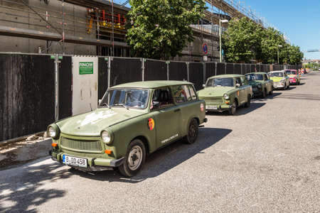 Berlin, Germany - May 27, 2017: The Trabant cars parked on the street in Berlin, Germany. The Trabant is a car that was produced by former East German auto maker VEB in Zwickau. Sajtókép