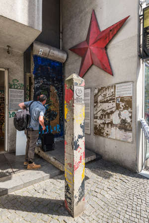 Berlin, Germany - May 28, 2017: Memorial frontier post of DDR, the Cold War Museum on Friedrichstrasse in Berlin, Germany. Sajtókép