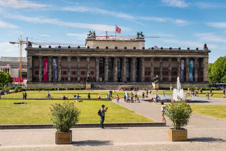 Berlin, Germany - May27, 2017: People in front of The Altesmuseum (Museum of Antiquities) on Museum Island in Berlin, Germany.