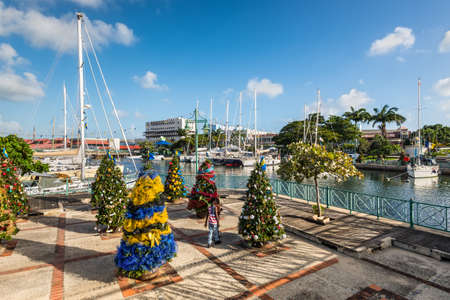 Bridgetown, Barbados - December 18, 2016: Christmas trees on the streets of Bridgetown in Barbados, West Indies, Caribbean, Lesser Antilles, Central America.