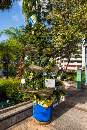 Bridgetown, Barbados - December 18, 2016: Christmas tree on the street of Bridgetown in Barbados, West Indies, Caribbean, Lesser Antilles, Central America.