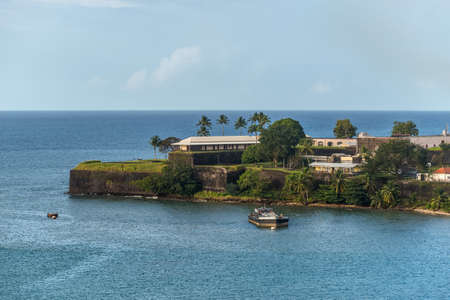 Fort-de-France, Martinique - December 19, 2016: Fort Saint Louis in Fort-de-France Bay, Martinique, West Indies, French Caribbean. View from the cruise ship.