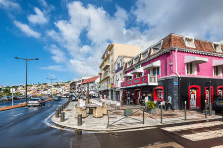 Fort-de-France, Martinique - December 19, 2016: The street life of Fort-de-France city in Martinique, Caribbean, Lesser Antilles. Martinique is an insular region of France. Fort-de-France is the capital of Martinique.