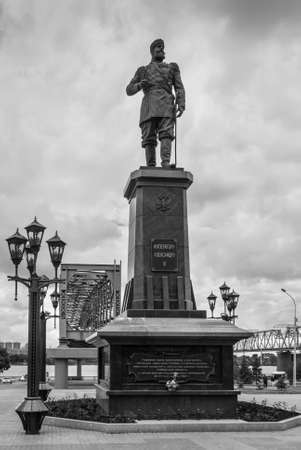 Novosibirsk, Russia - June 28, 2013: the Monument to Russian Emperor Alexander III on the embankment of the river Ob. Black and white photography. 報道画像