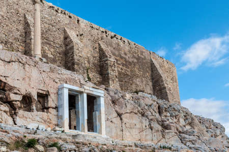 Beautiful view of the walls of the ancient Acropolis in Athens, Greece Stock Photo