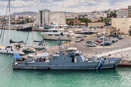 Heraklion, Greece - November 2, 2017: Hellenic coast guard ship, docked at the port of Heraklion, Crete island, Greece.