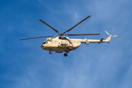 El Qantara, Egypt - November 5, 2017: A Mil Mi-8 Hip helicopter patrolling the Suez Canal in Egypt.