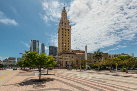 Miami, FL, United States - April 19, 2019: The Miami Freedom Tower, Historical Symbol of Cuban Immigration. In 2008 the tower was declared a national monument of the United States.