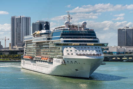 Miami, FL, United States - April 20, 2019: Celebrity Equinox Cruise ship sailing from the port of Miami, Florida, USA to Caribbean or Bahamas cruise.