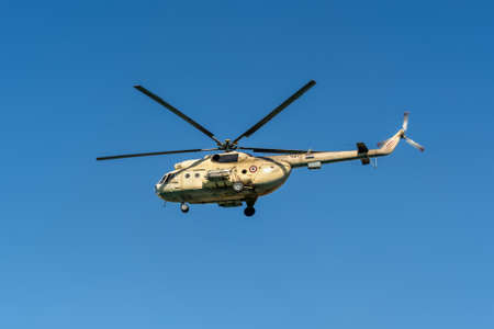 Suez, Egypt - November 5, 2017: A Mil Mi-8 Hip helicopter patrolling the Suez Canal in Egypt.