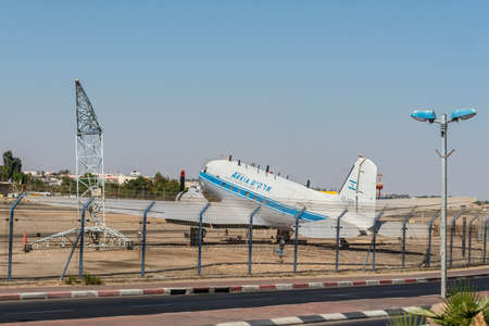 Eilat, Israel- November 7, 2017: Arkia Airlines plane Douglas DC-3, located at the airport of Eilat as a monument. The Douglas DC-3 is a plane that revolutionized air transport in the 1930s and 1940s.
