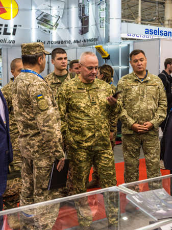 Kyiv, Ukraine – October 9, 2019: The Chief of the General Staff and Commander-in-Chief of the Armed Forces of Ukraine Lieutenant General Ruslan Khomchak during Exhibition ARMS AND SECURITY 2019.