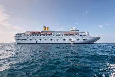 Male, Maldives - November 17, 2017: Costa neoClassica Cruise Ship in the outer harbor of Male island as seen from the boat in Maldives, Indian Ocean.