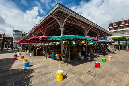 Pointe-a-Pitre, Guadeloupe - December 14, 2018: Central Market in Pointe-a-Pitre, in the French overseas department of Guadeloupe. Central market - also known as Spice Market. Éditoriale