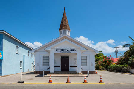 George Town, Grand Cayman Island, UK - April 23, 2019: The Church of God Full Gospel Hall in downtown George Town, Grand Cayman, Cayman Islands, British West Indies.