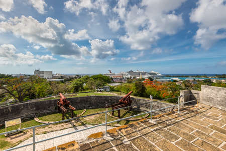 Nassau, Bahamas - May 3, 2019: Fort Fincastle on Bennet's Hill, where it overlooks Historical Nassau, capital of Bahama and it's harbor where cruise ships are moored. Editöryel