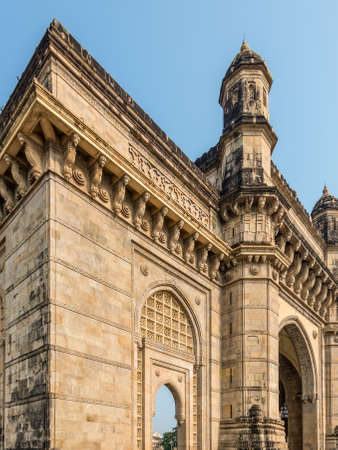 Details of the top of Gateway of India, a monument built during the British Raj in Mumbai