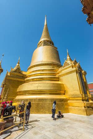 Bangkok, Thailand - December 7, 2019: View of the Golden Stupa (Phra Siratana Chedi) in a temple complex in Bangkok, Thailand.