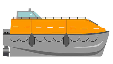 Water rescue. Vector illustration of life boat. Life saver. Rescue boat. For passenger and cruise ships.
