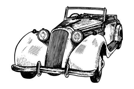 Hand drawn vintage retro luxury limousine cabriolet, doodle sketch graphics monochrome vector illustration on white background (tracing)