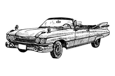 Hand drawn vintage retro old timer cabriolet, doodle sketch graphics monochrome vector tracing illustration on white background