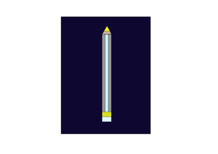 depicts: illustration which depicts a yellow pencil against a dark square Illustration