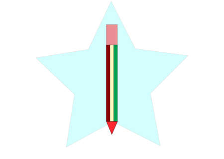 which: illustration which depicts a pencil on the background of stars